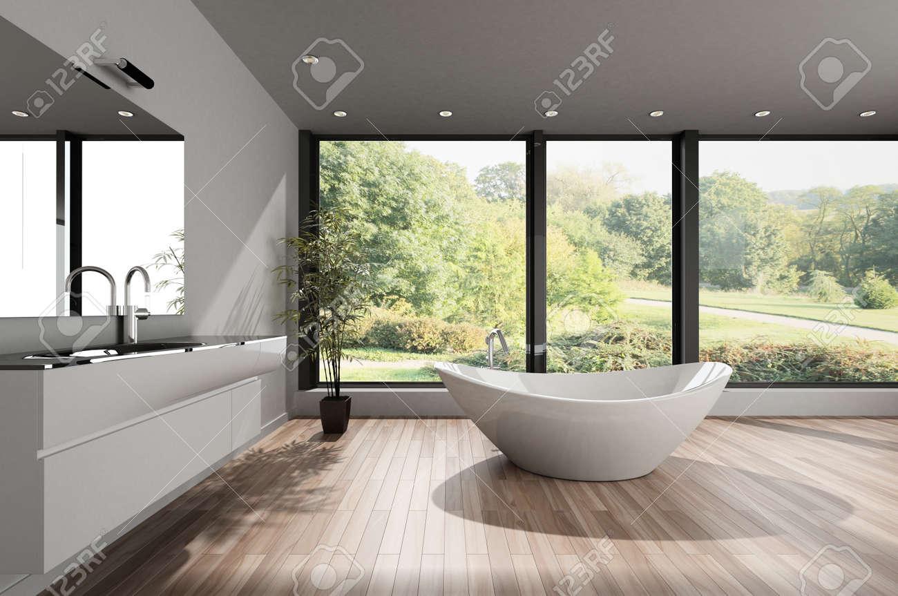 Großes, Geräumiges, Modernes Badezimmer Mit Einer Modernen Badewanne ...