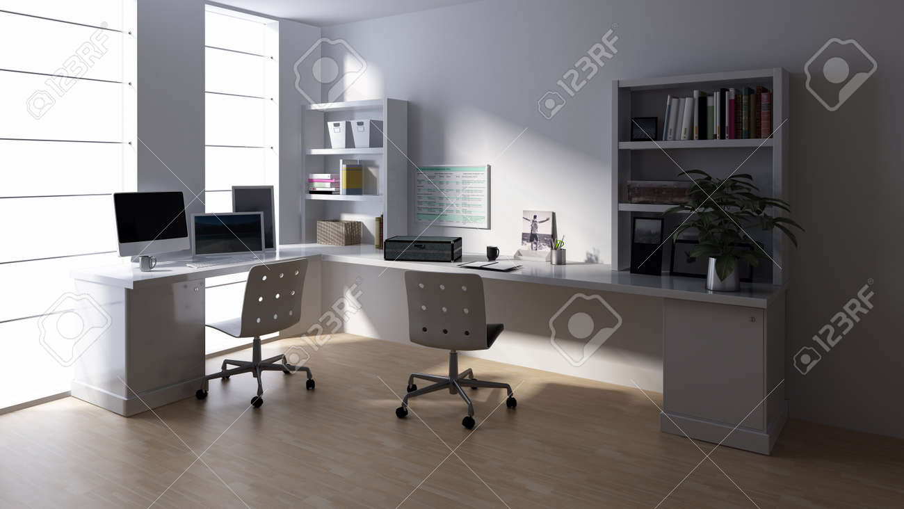 Desk With Computer At Empty Workstation In Bright Office Room Stock Photo Picture And Royalty Free Image Image 89837947