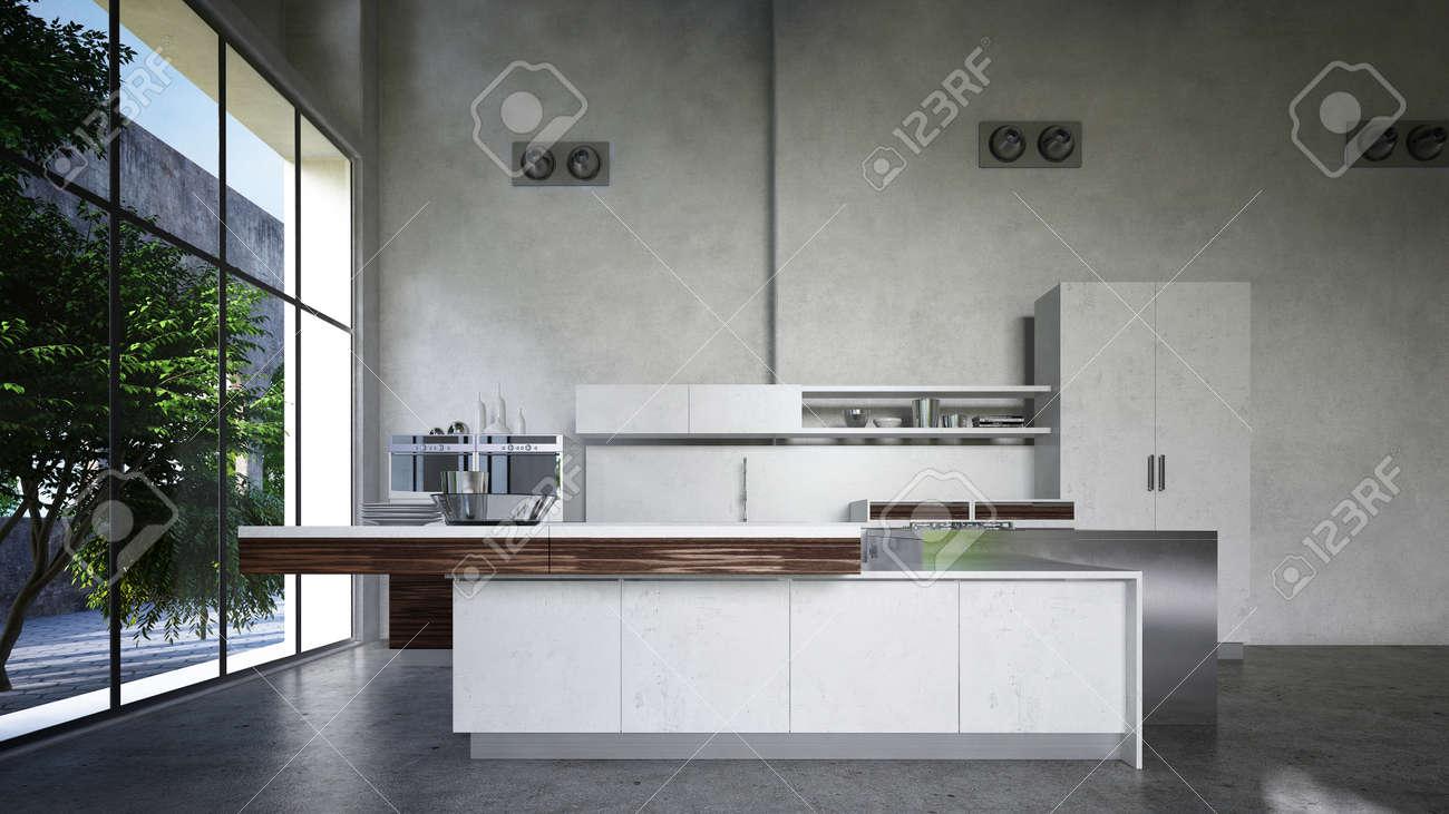 Cocina Amueblada Con Electrodomésticos E Isla En Una Conversión ...