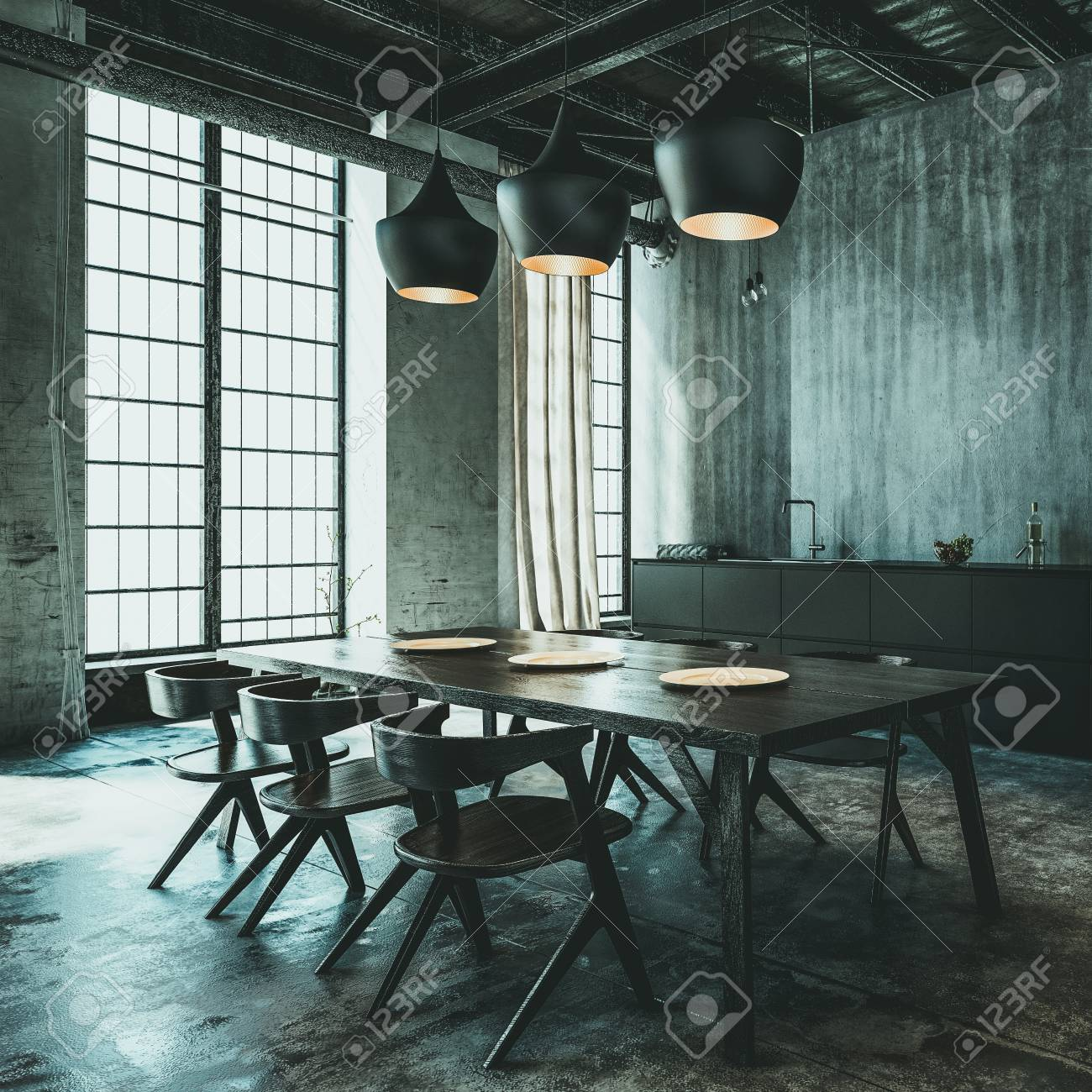 contemporary loft furniture. Modern Industrial Loft Conversion Dining Area With Contemporary Table And Chairs A Kitchen Along Furniture