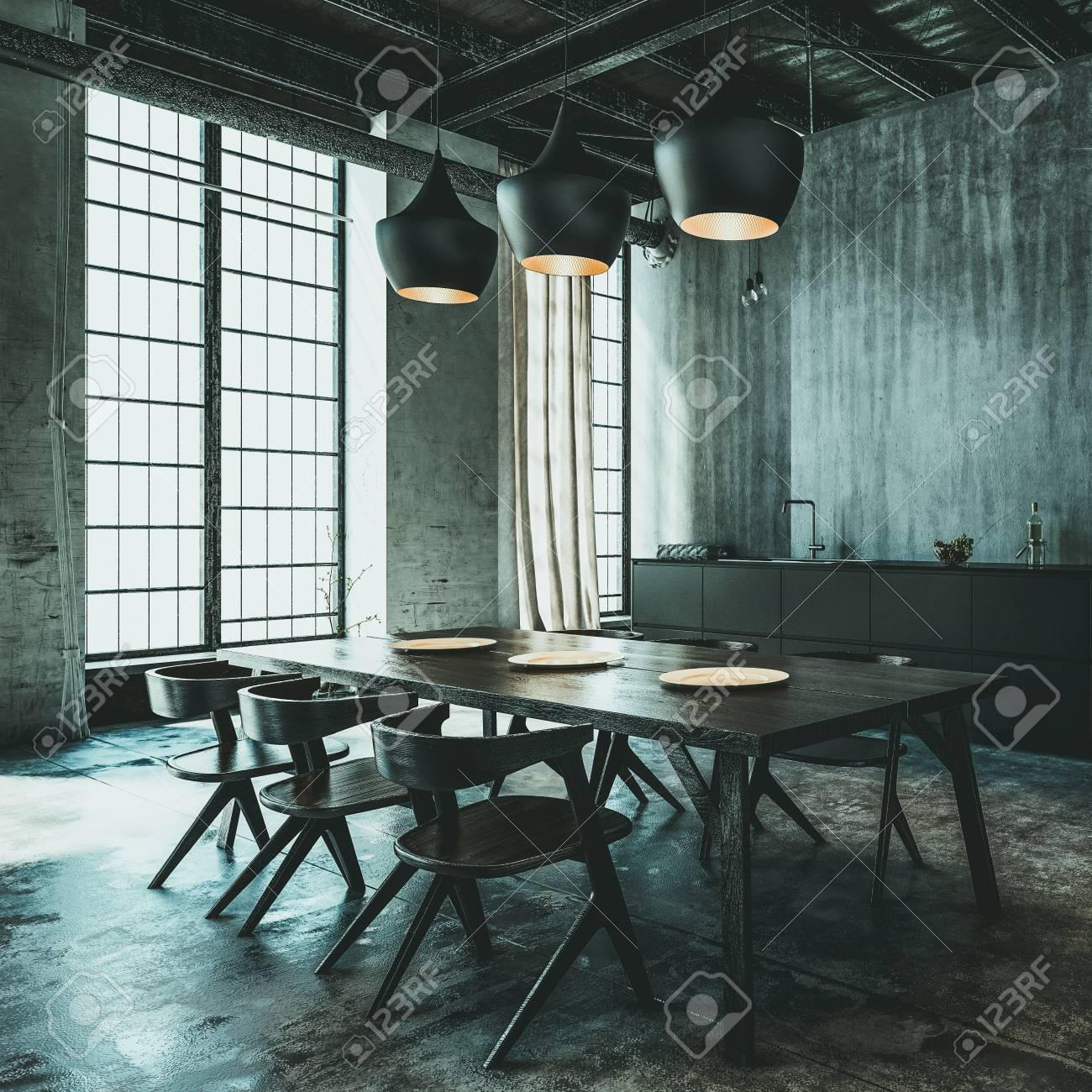 Moderno Comedor De Conversión De Loft Industrial Con Mesa Y Sillas ...