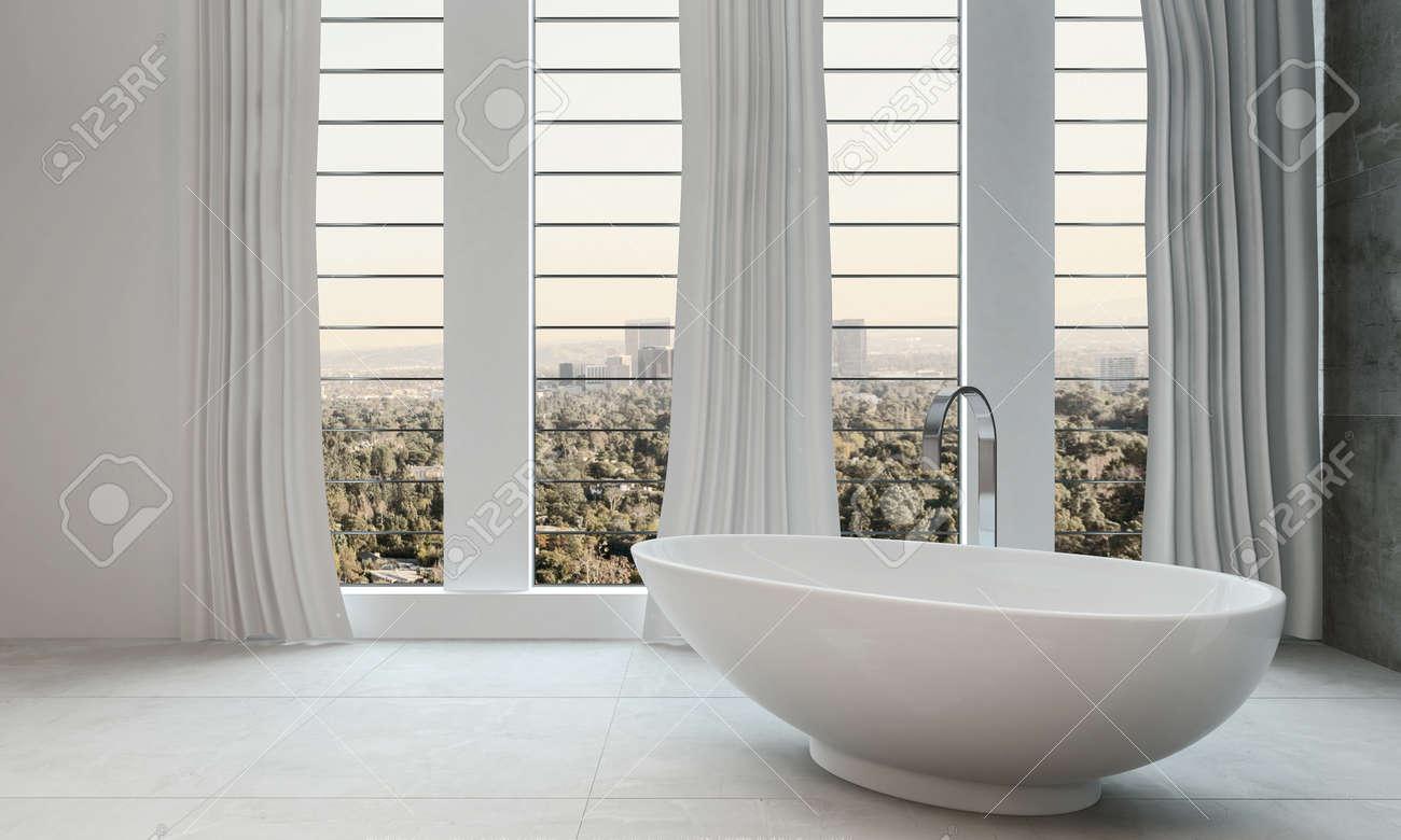 Modern Clean Bathroom With Bathtub And Big Windows Stock Photo ...