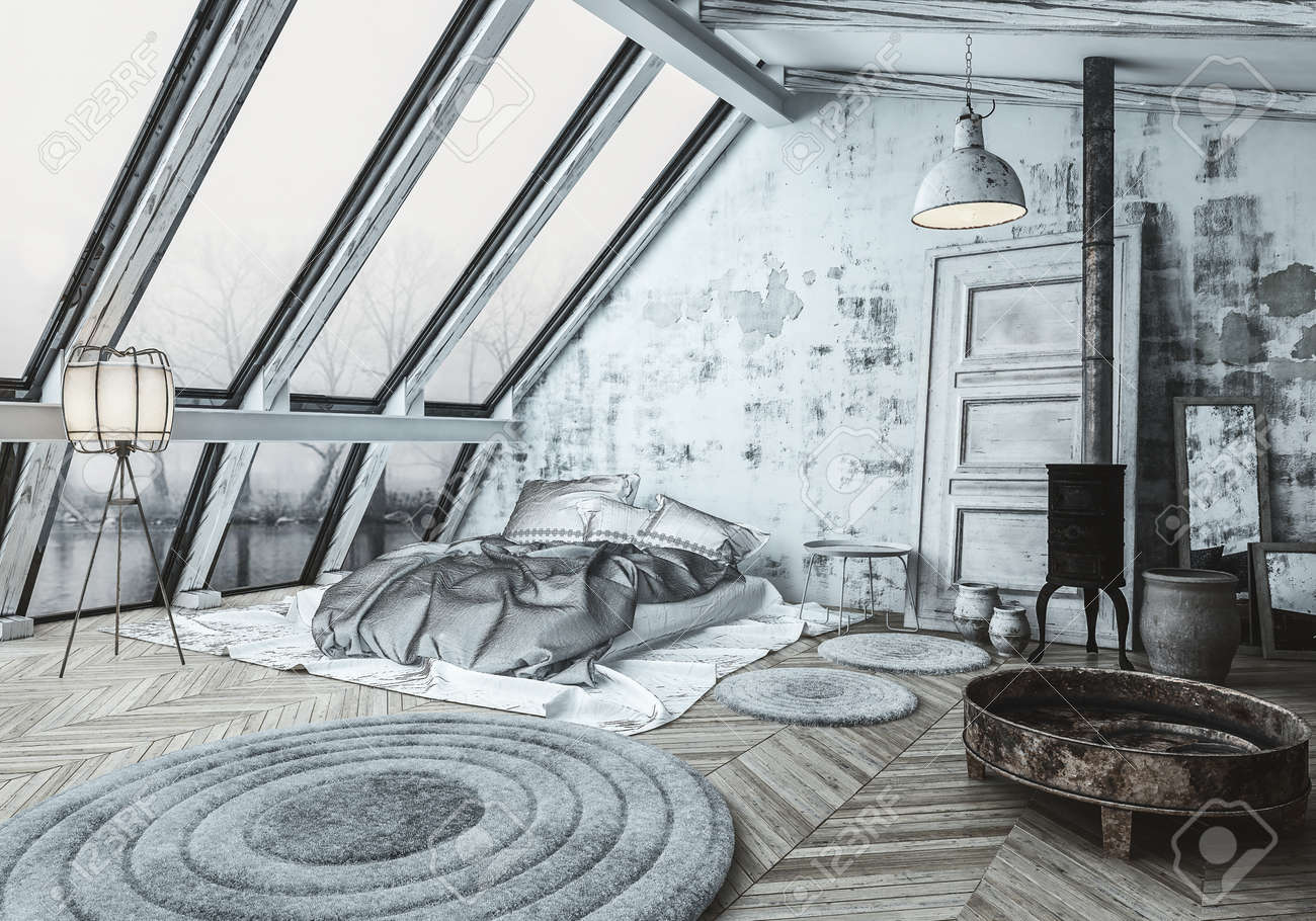 Cozy Scandinavian Style Bedroom With A Wood Burner Stove For Stock Photo Picture And Royalty Free Image Image 93883906