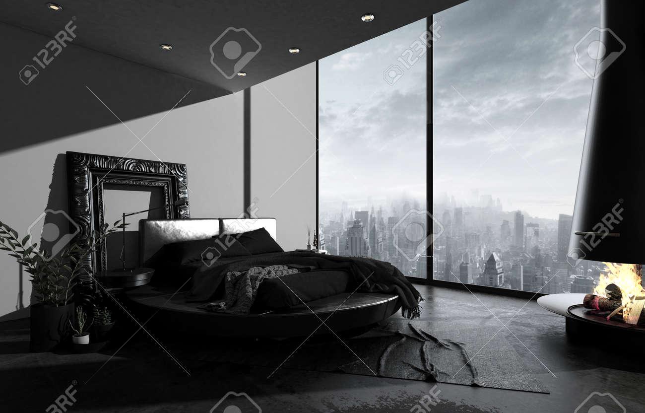 Penthouse Bedroom In Dark Minimalism Design Black Bed Floor