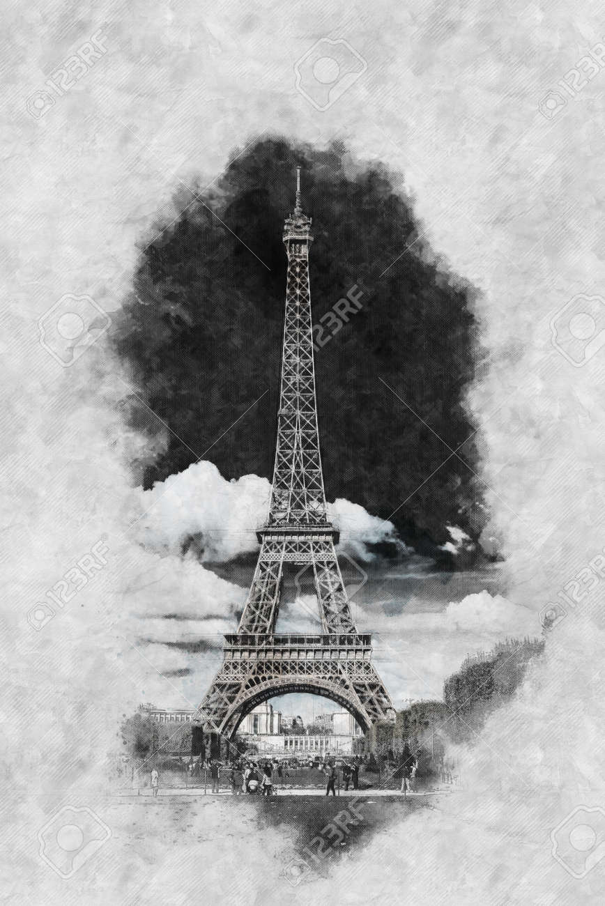 Vintage style pencil sketch of the eiffel tower paris on textured
