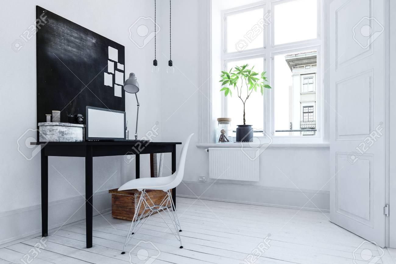 Petit bureau confortable avec un décor noir et blanc et une chaise