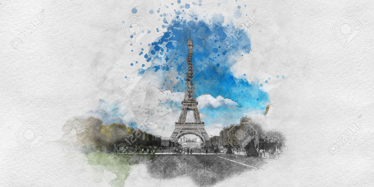 Stock photo watercolor painting with pencil sketch of the eiffel tower paris with textured brushstrokes showing the champ de mars view in a tourism