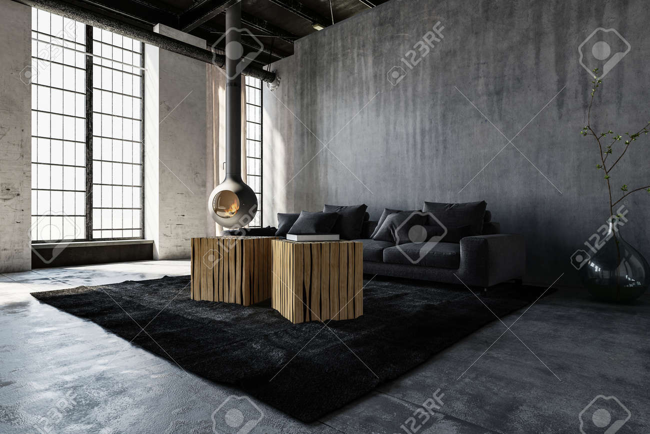 Spacious Minimalist Room With Sofa In Loft Style Modern Apartment ...