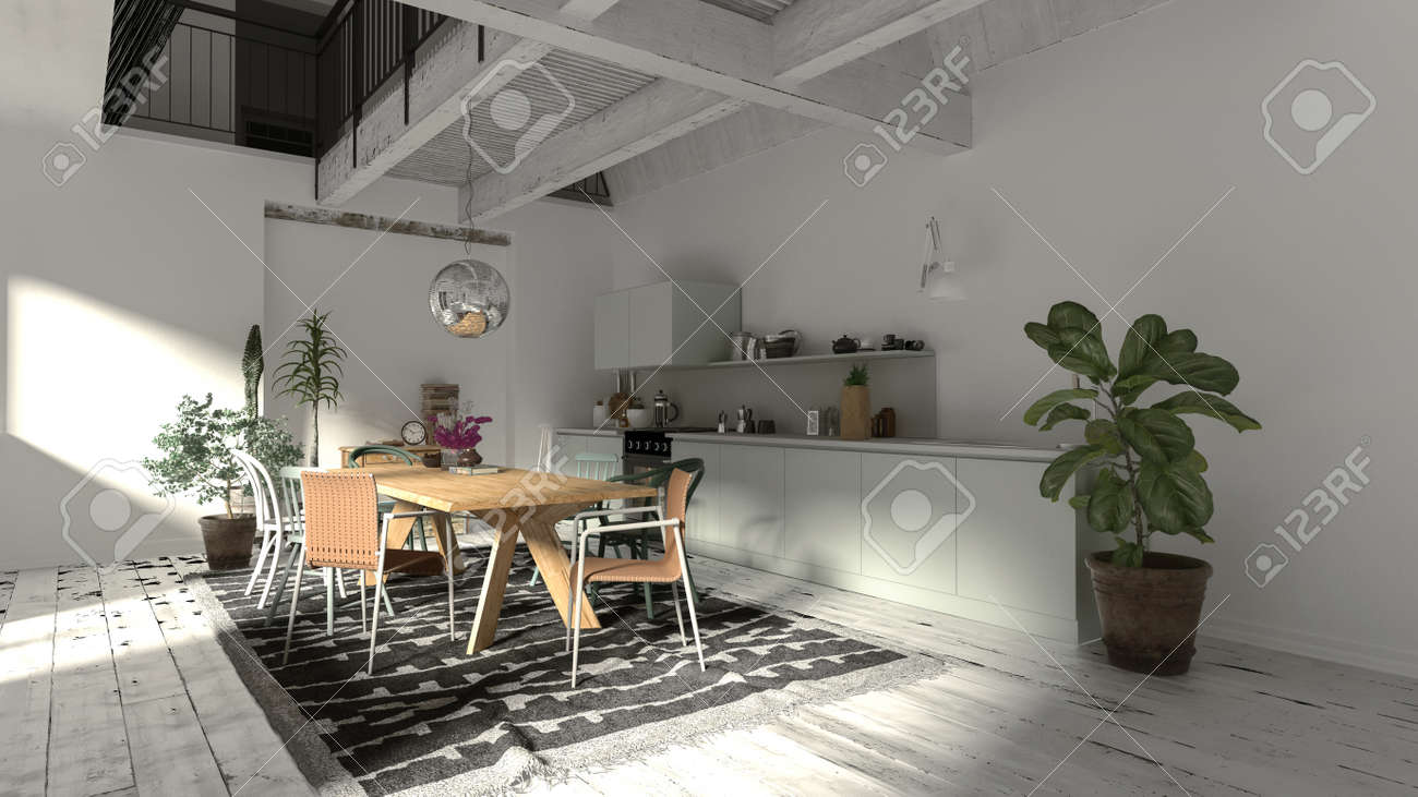 Modern Rustic Dining Room Interior With Wooden Beams And A Wood Stock Photo Picture And Royalty Free Image Image 95690634