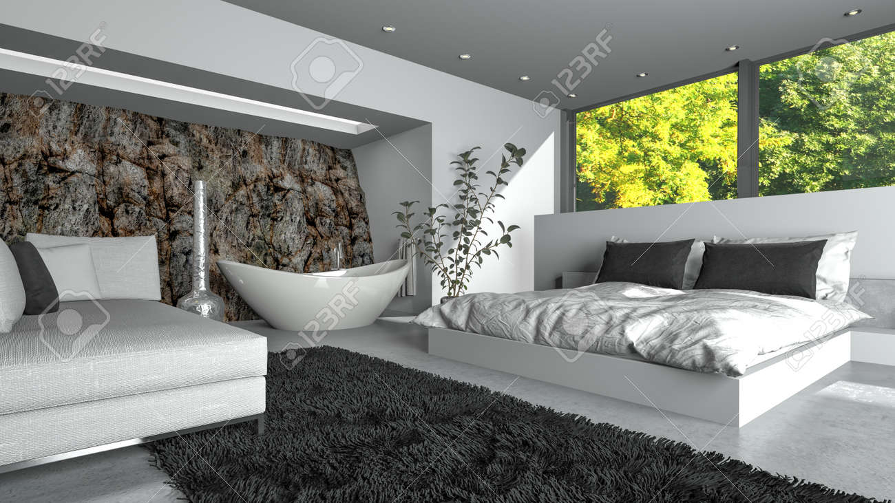 Modern Luxury Bedsitter With Fresh White Decor And A Double Divan Bed, Sofa  And Freestanding