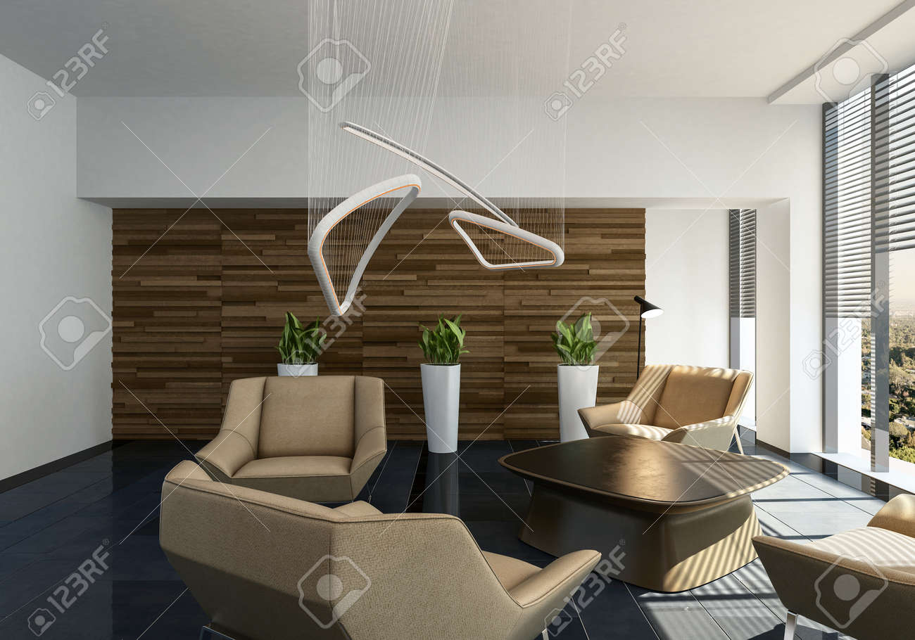 Stylish Contemporary Living Room Interior With Light Leather