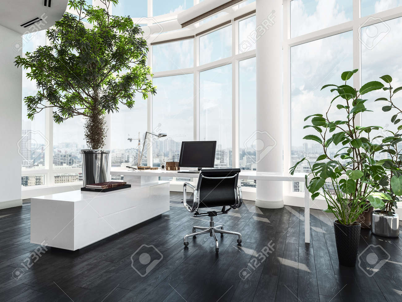 modern luxury office interior in a pent house with curved white