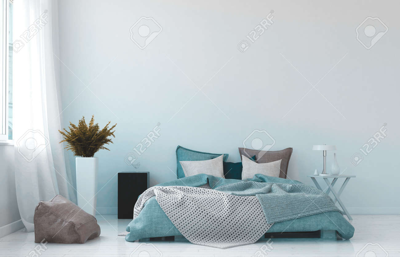 Cool Blue And White Bedroom Interior With A Rumpled Queen Sized Stock Photo Picture And Royalty Free Image Image 97860064