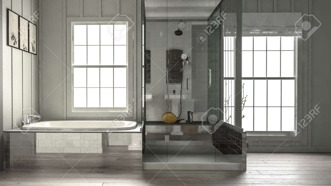 Modern Luxury Bathroom Interior With Shower Cubicle And Bathtub ...