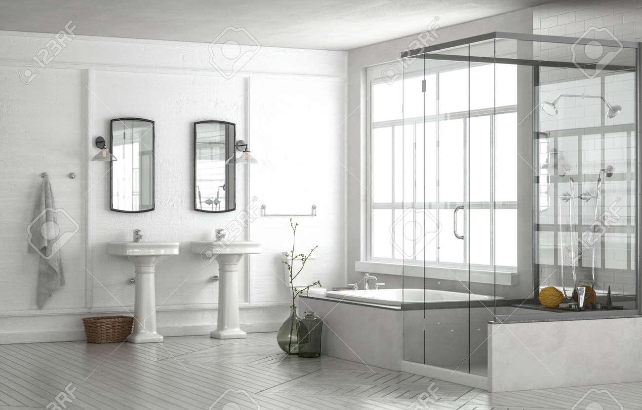 Fresh White Spacious Modern Luxury Bathroom Interior With Double ...