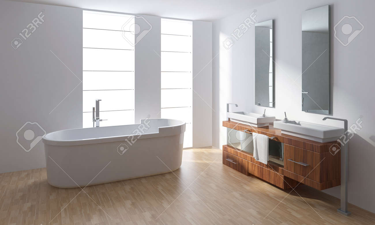 White Porcelain Bathtub With Washbasin In Bright Minimalist Bathroom ...