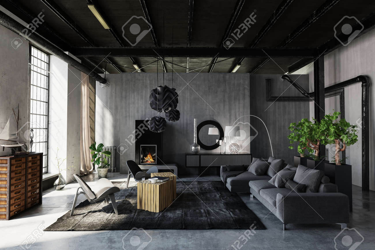 Modern Trendy Living Room In An Industrial Loft Conversion With
