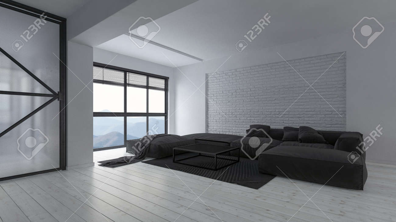 Spacious modern luxury open plan white monochromatic loft living..
