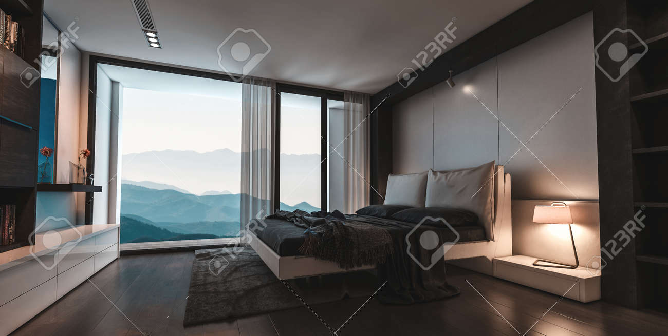 Modern Stylish Luxury Bedroom With View Window Overlooking Mountain Stock Photo Picture And Royalty Free Image Image 97792903