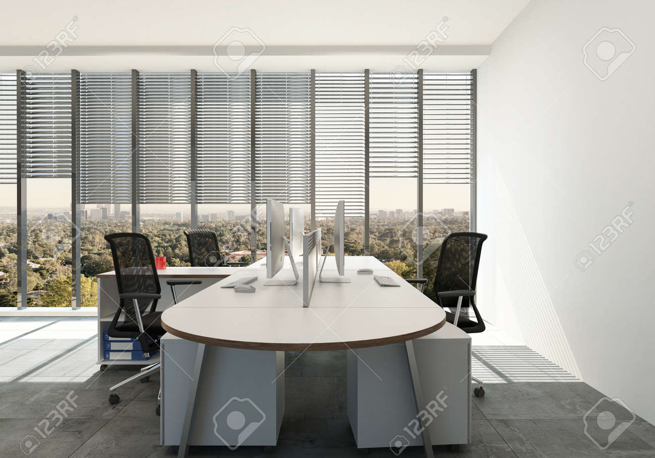 Modern Office With Triple Workspace Design Around A Single Table Desk In  Front Of Large View