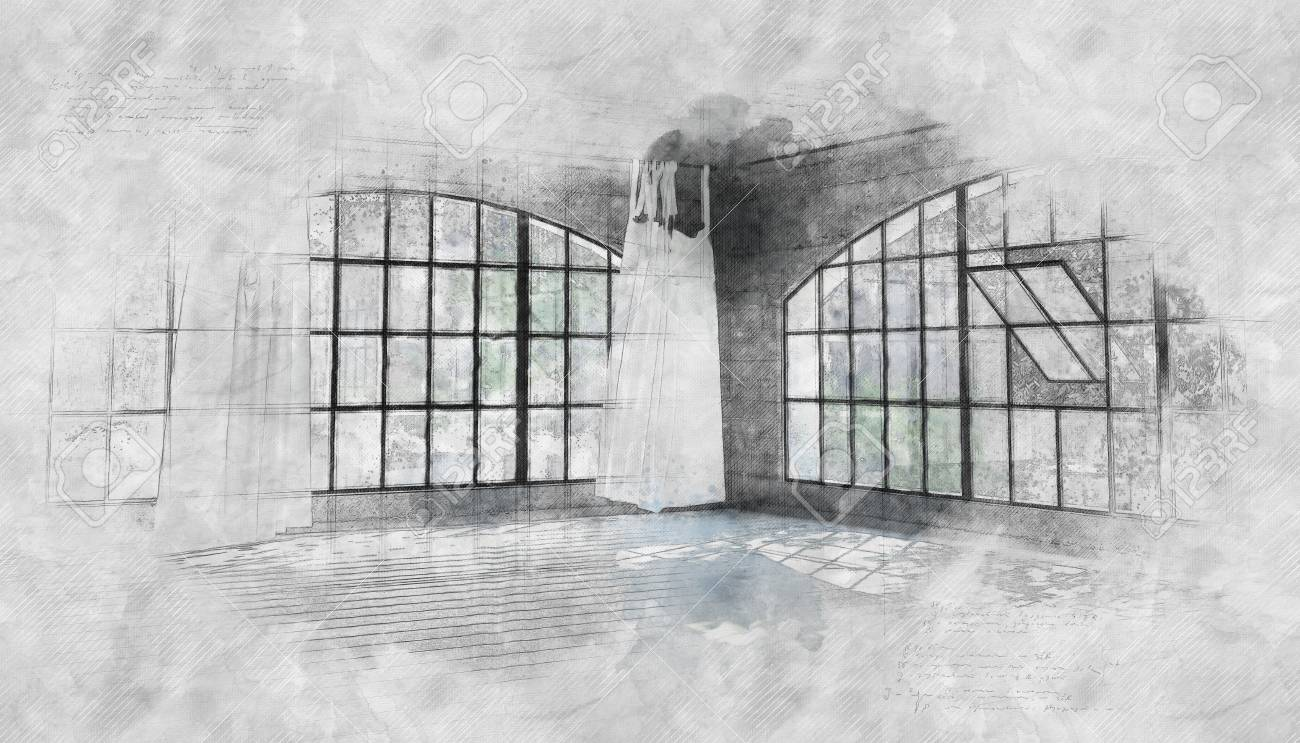 Pencil sketch and paint effect room interior of an empty room with large arched cottage pane