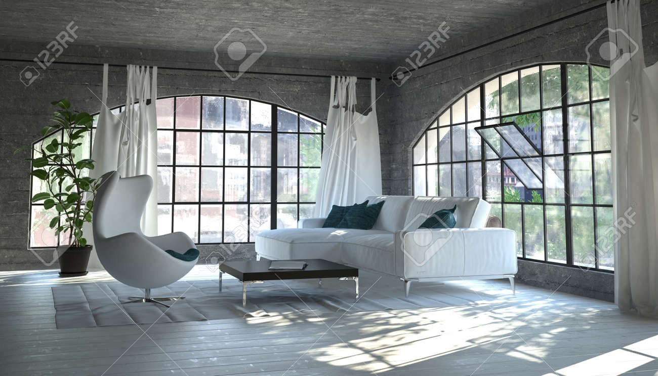Cozy Living Room Corner With A White Sofa And Tub Chair In Front Of Large  Arched