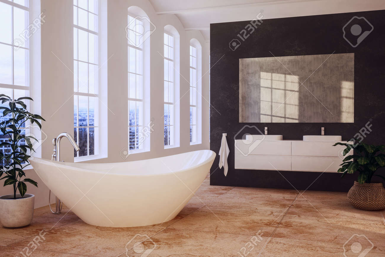 Elegant loft bathroom with tall windows overlooking a contemporary boat shaped bathtub and double vanities on a black divider wall with mirror. 3d rendering - 98755945