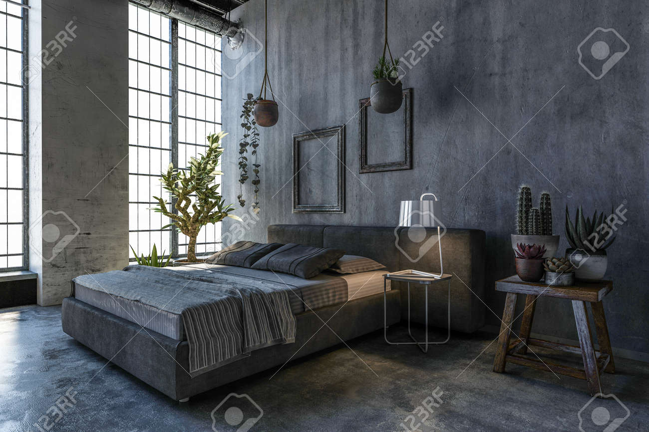 Merveilleux King Sieze Bed In Loft Style Bedroom With Houseplants And Large Window  Stock Photo   103318084