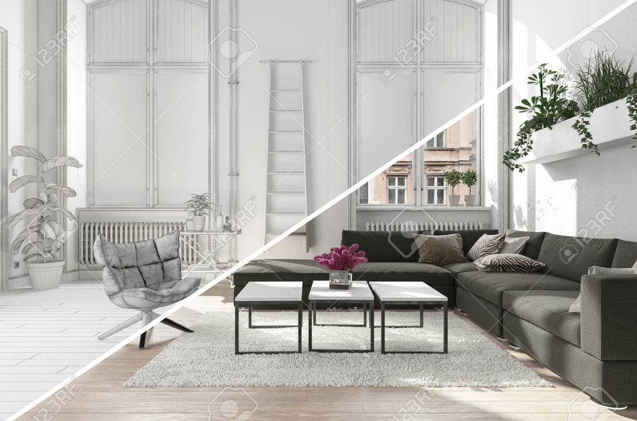 A Modern, Contemporary Living Room Lounge Area With A Diagonal ...