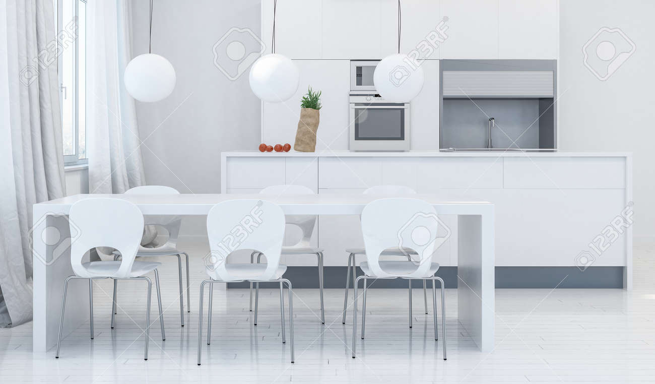 Modern Dining Room With White Plastic Chairs Under White Table ...
