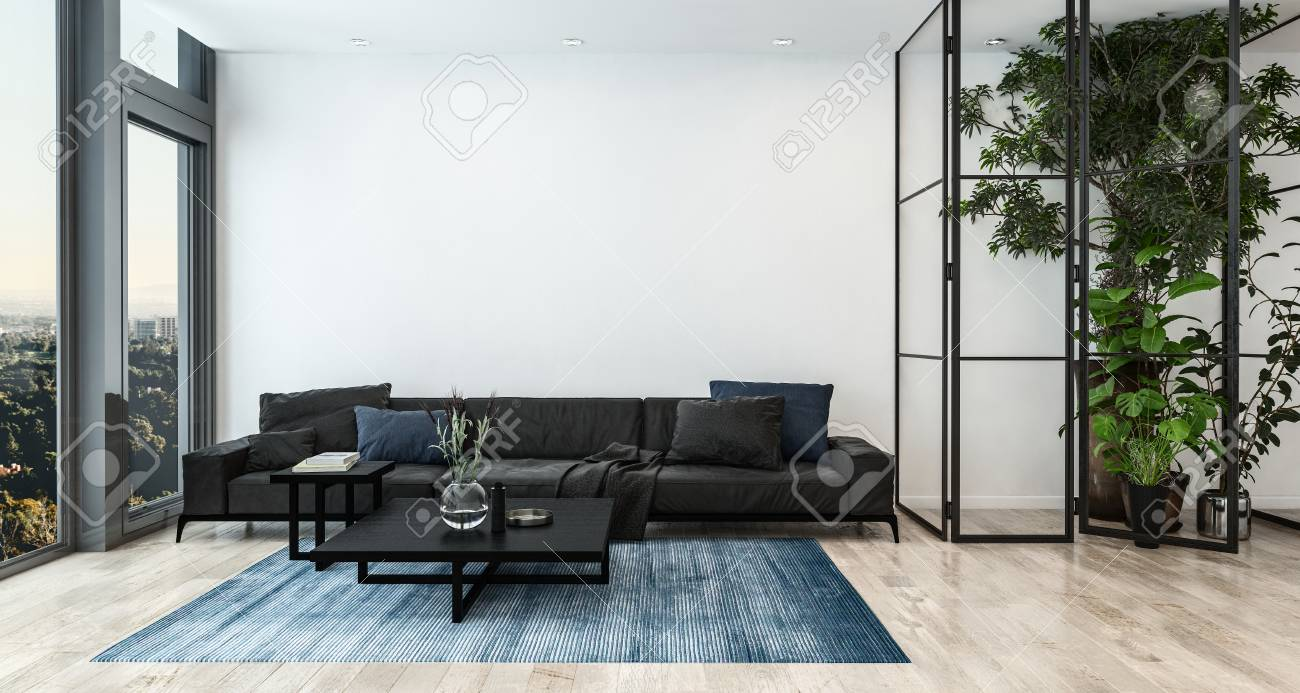 Modern Living Room Interior With Tall Indoor Plants And Black