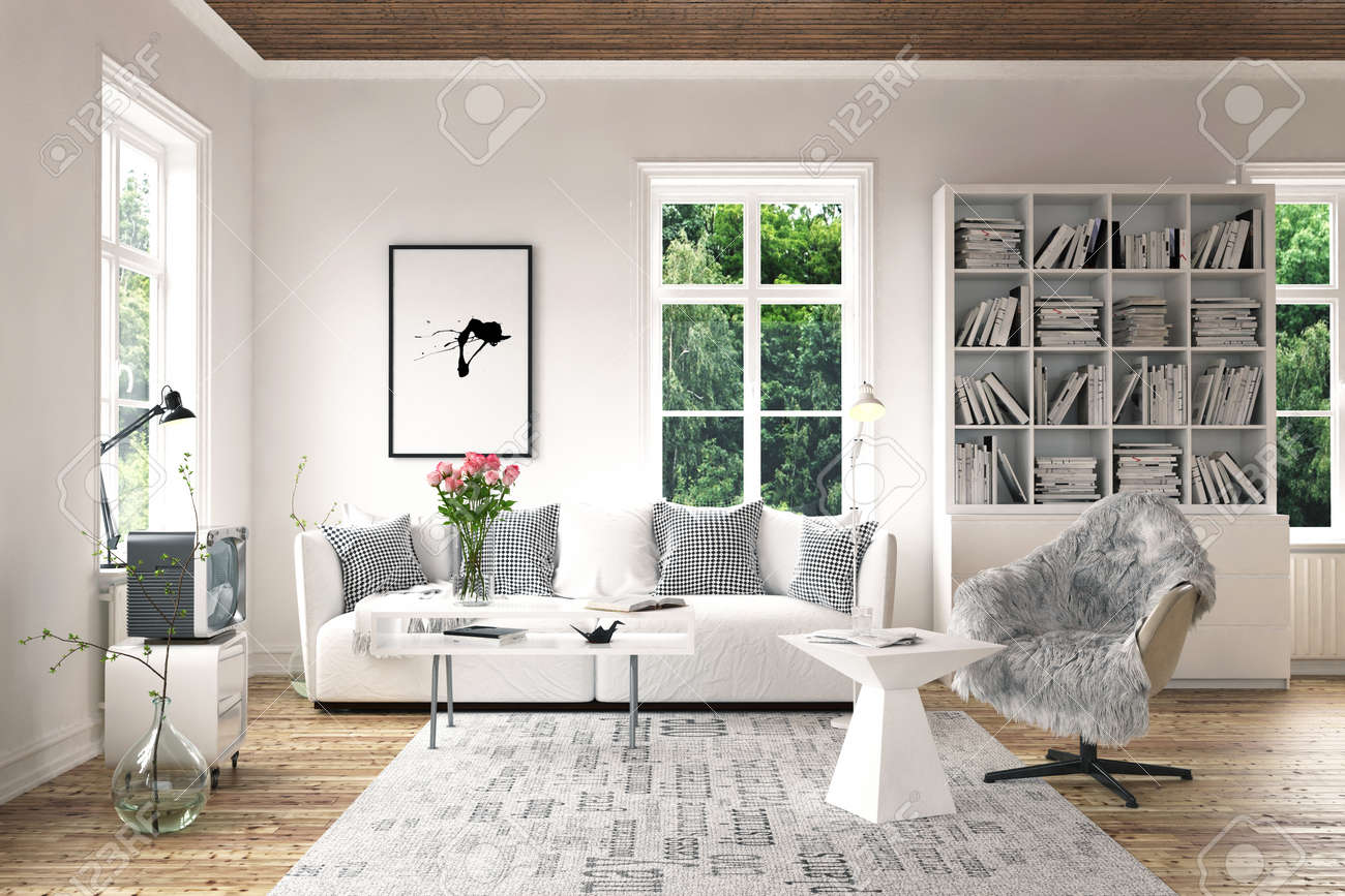 . Stylish furniture in bright living room concept with old fashioned