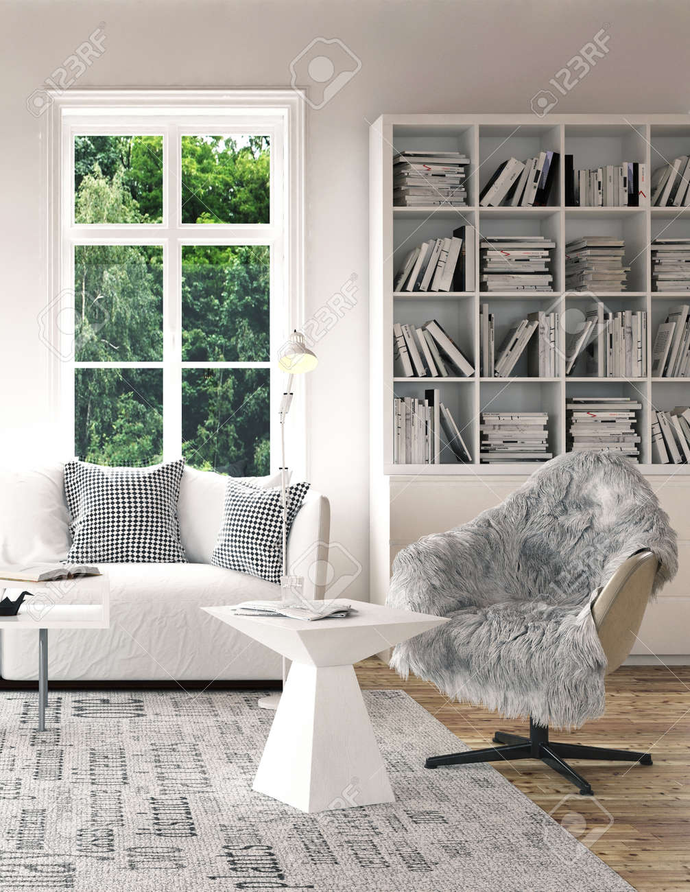 Stylish white coffee table and armchair with fur on grey carpet..