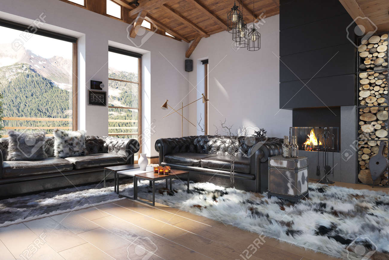 Brilliant Interior Of Modern Living Room In Vacation Home With Mountain Cjindustries Chair Design For Home Cjindustriesco