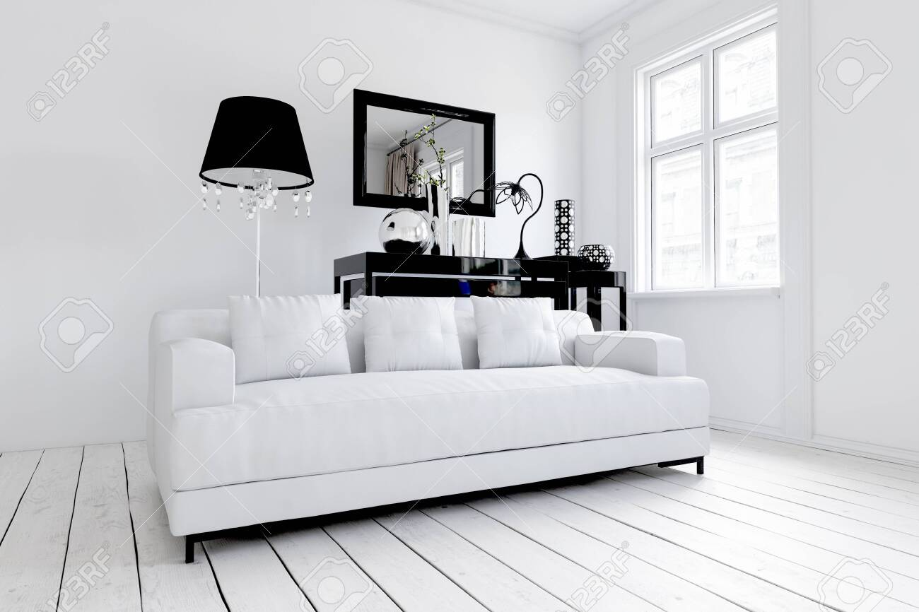 White sofa in stylish modern living room with wooden floor and..