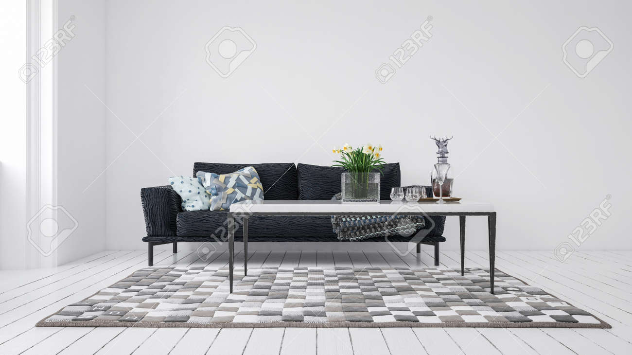 Minimalist modern monochromatic grey living room interior with couch with cushions and a coffee table on a patterned rug on white painted floorboards lit by daylight from a side window. 3d rendering - 130167299