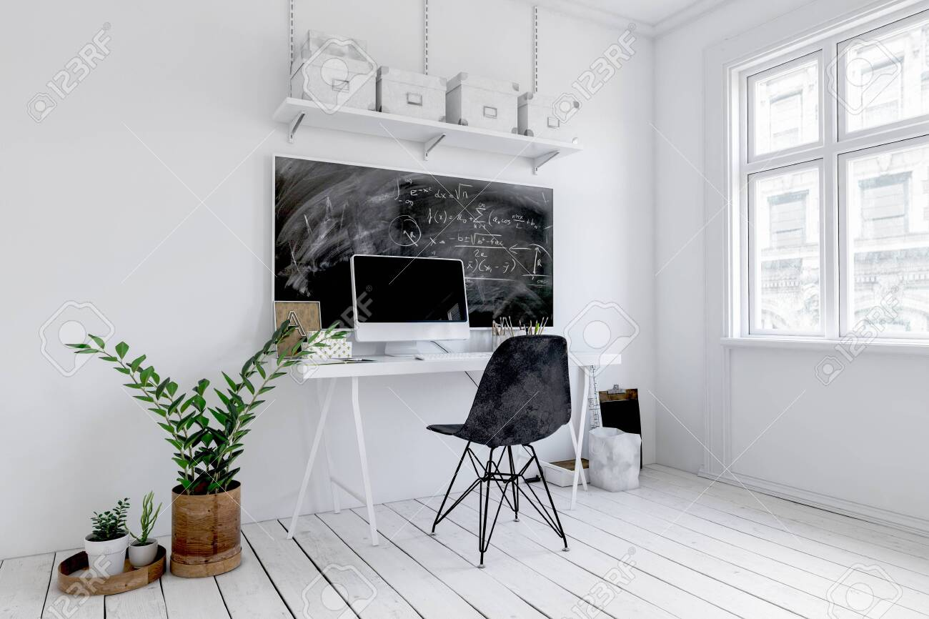 Trendy white office interior with blackboard above a small desk with computer and chair alongside potted plants. 3d rendering - 130167314