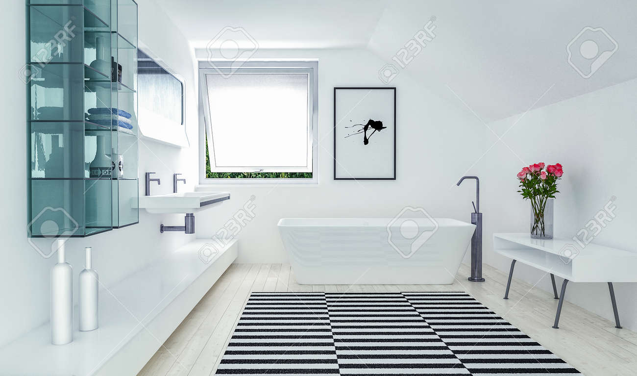 Striking modern white bathroom interior with a bold black and white stripe pattern on the floor, glass cabinets and freestanding tub. 3d rendering - 130167313