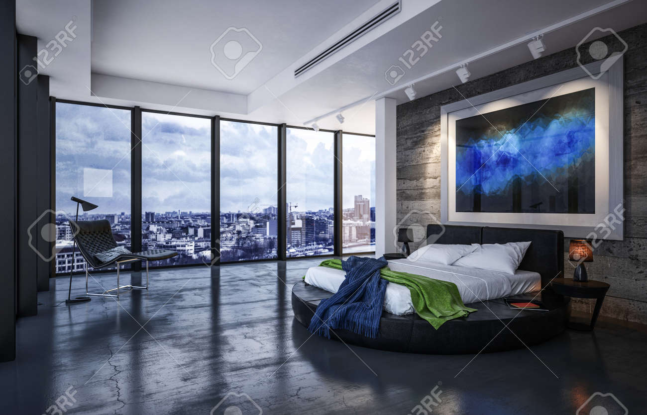 Luxury Bedroom Interior With Bed On A Circular Black Frame Below Stock Photo Picture And Royalty Free Image Image 130167316