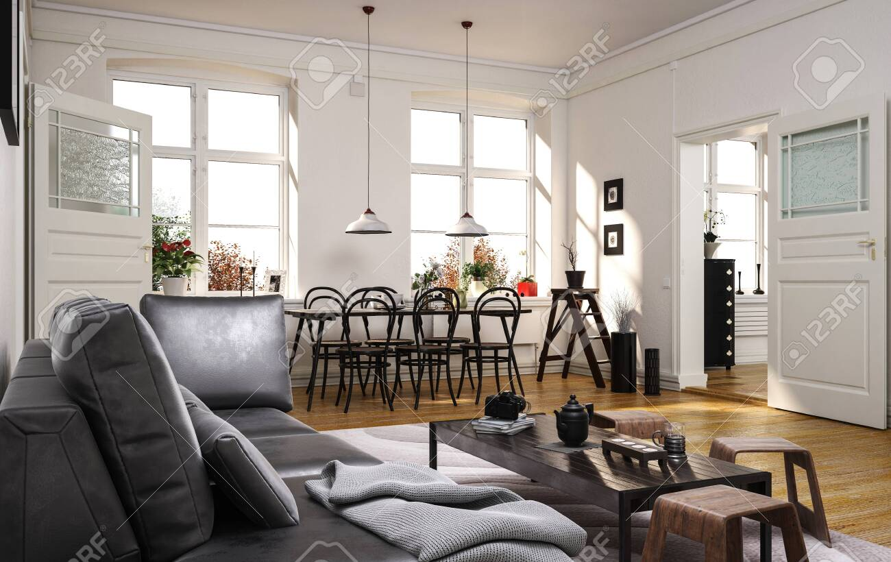Spacious modern open plan living room with comfortable grey sofa and a dining area with small table with bentwood chairs with sunlight streaming in through two large windows. 3d rendering - 130167330