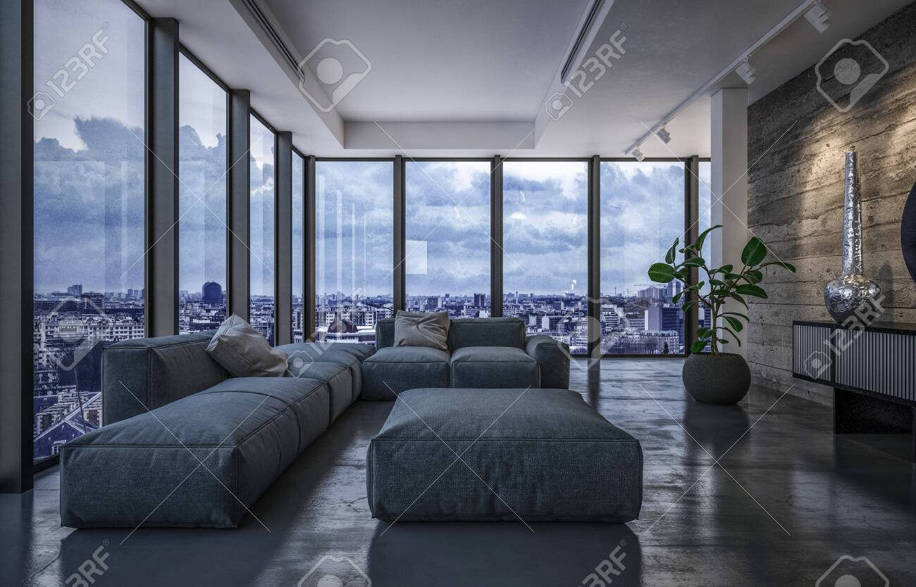 Luxury penthouse living room in evening light with wraparound glass windows overlooking the city and large comfortable grey furniture on a reflective floor. 3d rendering - 130167326