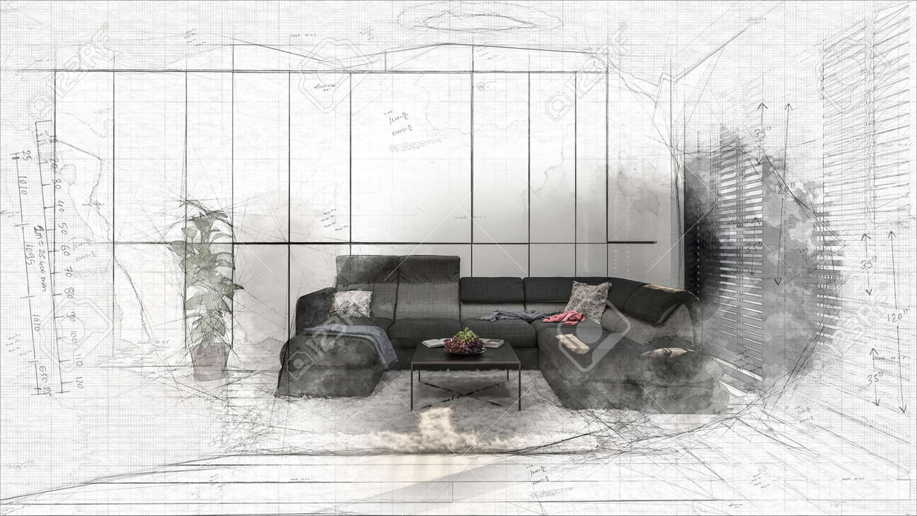 Sketched 3D design of living room interior with black corner couch and coffee table. Designers project becoming reality concept - 142466257