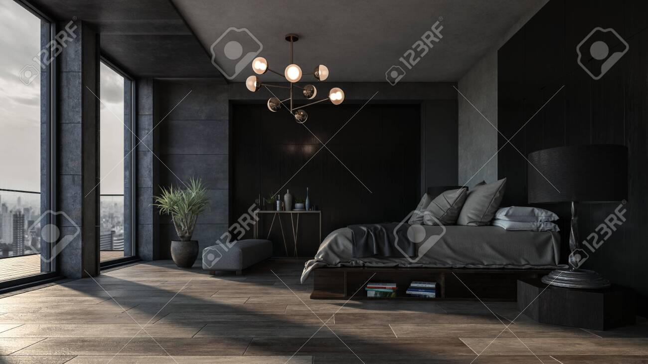 Bedroom with dark interior design and panoramic view of city downtown against king size bed. Luxury apartment or spacious hotel room interior concept - 142466260