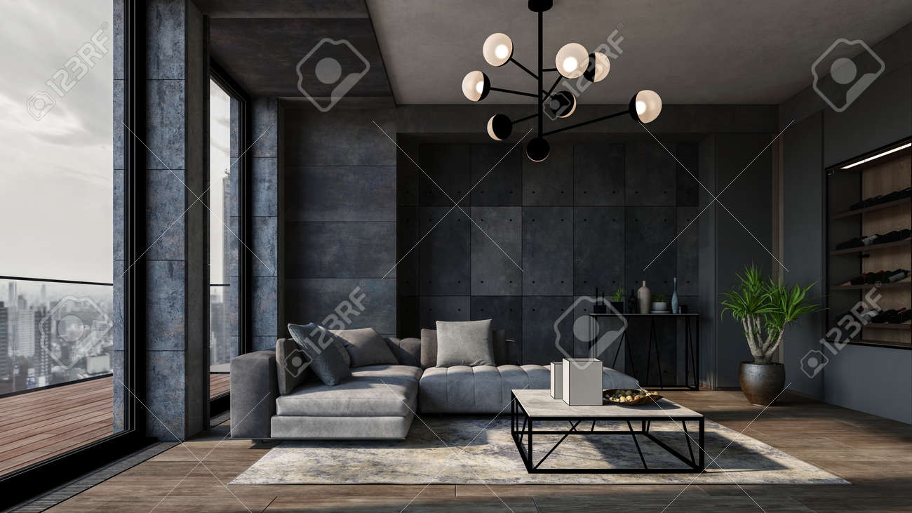 Modern luxury city apartment with textured grey walls, comfortable matching sofas and large view windows leading to balcony overlooking the CBD. 3d render - 142466278