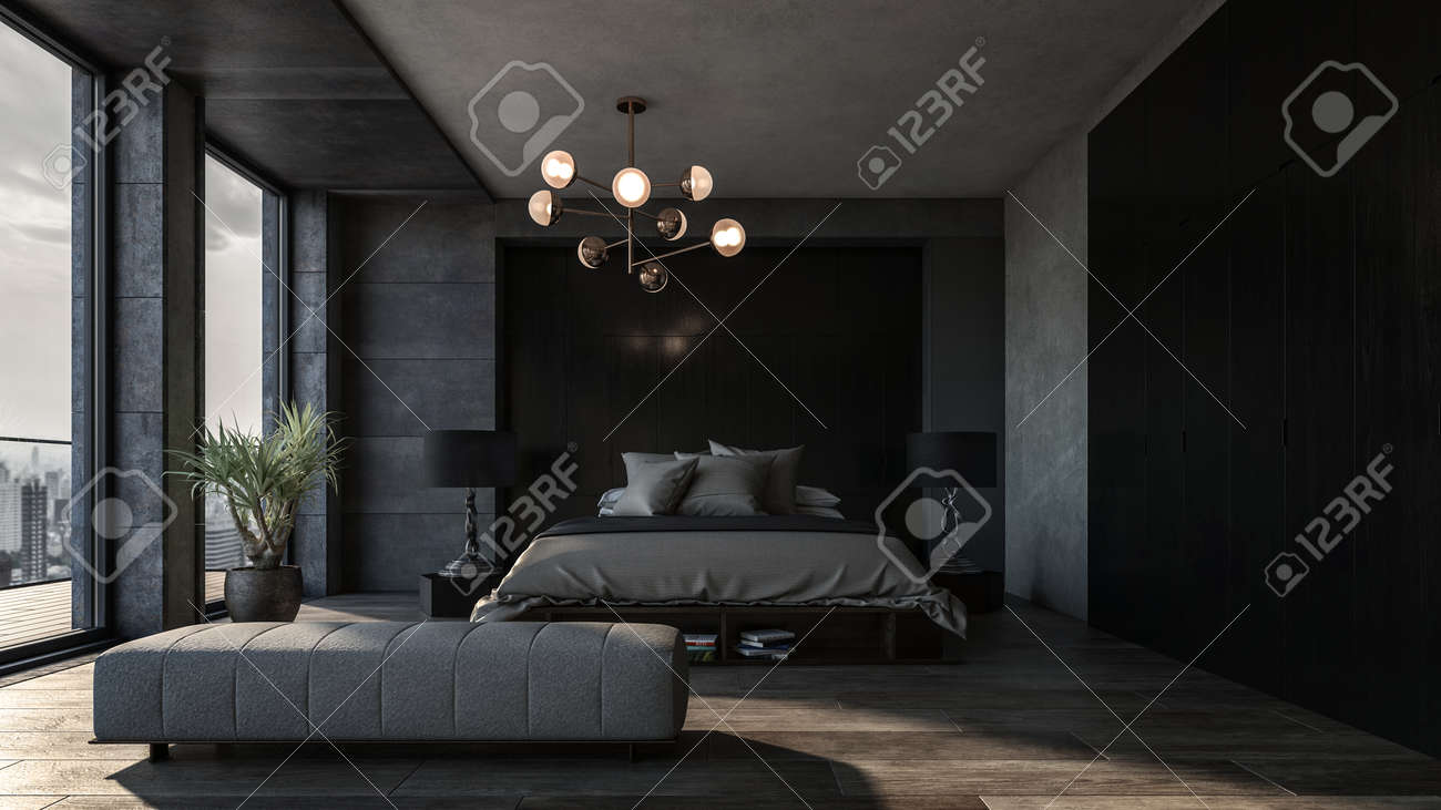 Spacious bedroom with dark interior and panoramic windows. King size bed with two floor lamps and grey linens in the middle - 142466279