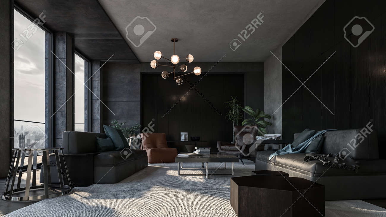 Spacious Living Room With Dark Interior Design And Panoramic Stock Photo Picture And Royalty Free Image Image 142466280