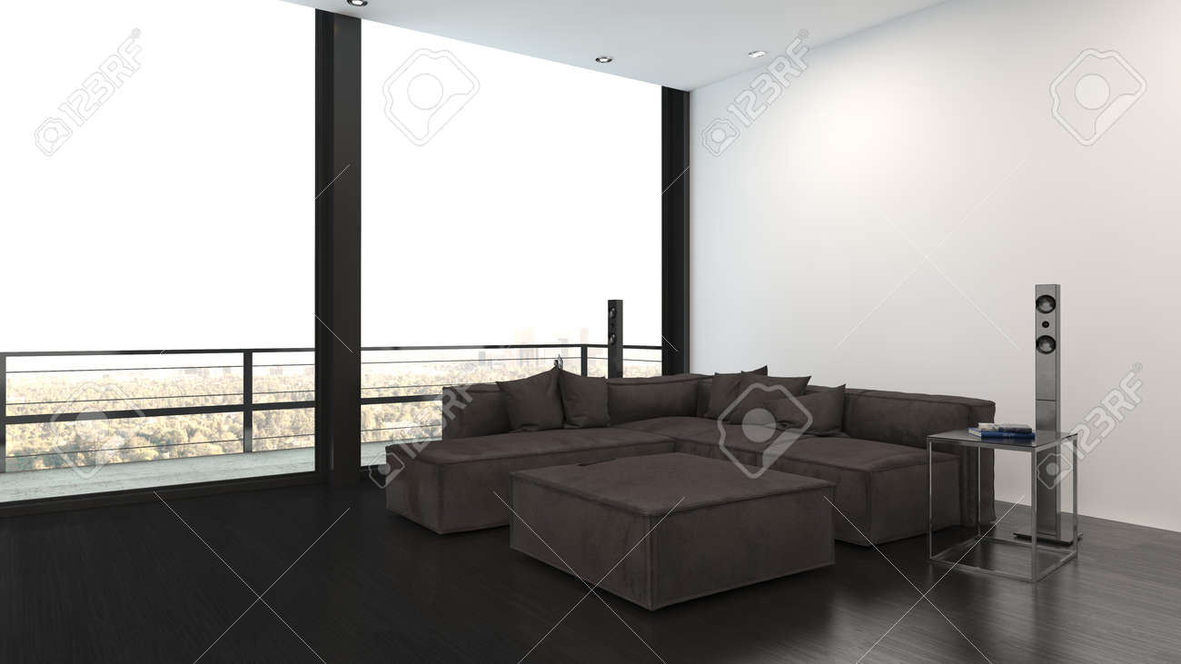 Minimalist interior design living room with large grey corner sofa, high-end stereo system and panoramic view windows with balcony - 142466281