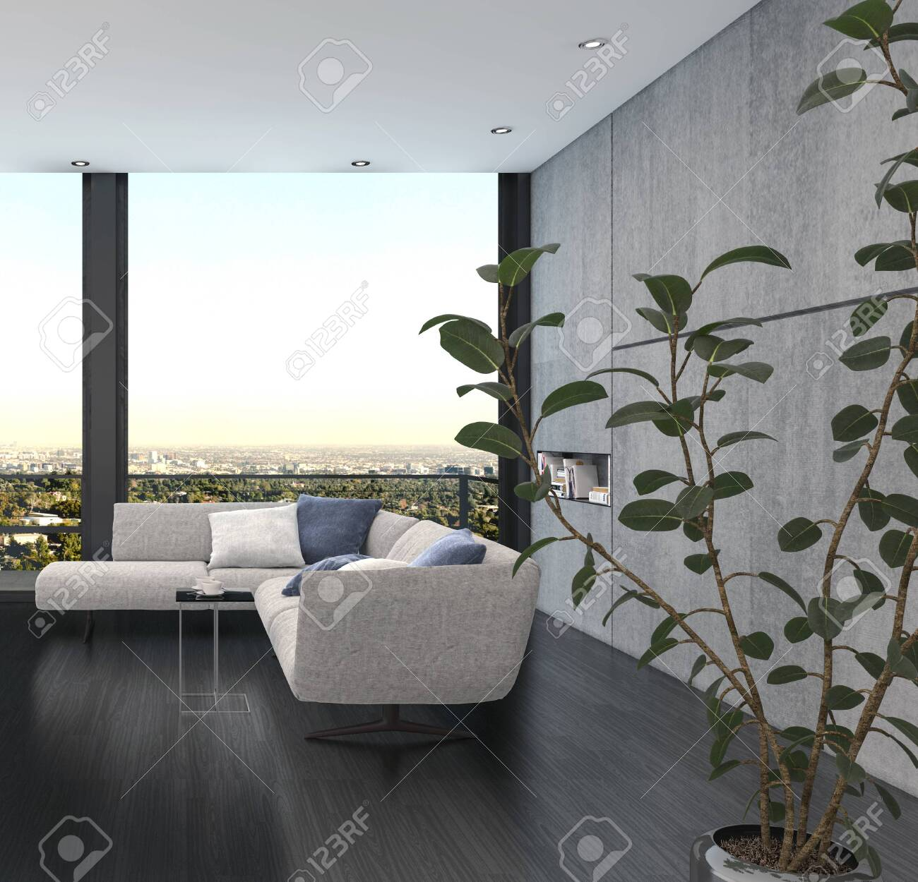 Minimalist interior design of a living room with corner couch of grey color against wide panoramic window and the indoor plant with green leaves in foreground - 142466283