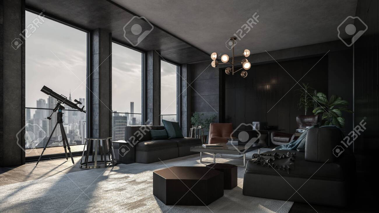 Luxury apartment with the view of downtown and the telescope near panoramic windows. Room with modern interior in dark grey and black colors and various living room furniture - 142466284