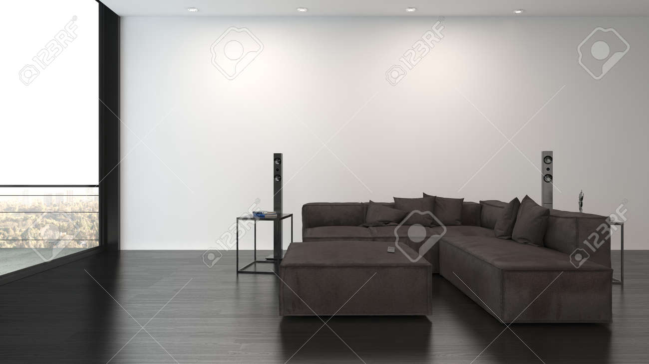 Large dark brown sofa with matching coffee table in a spacious living room facing floor to ceiling view windows in a minimalist luxury interior. 3d render - 142466288